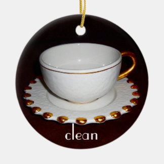 Clean or Dirty dishes sign for Dishwasher Ceramic Ornament