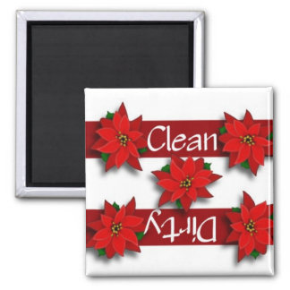Clean or Dirty Poinsettias Dishwasher Magnet
