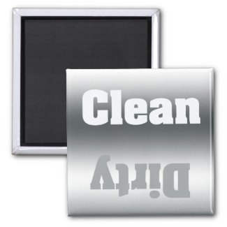 Clean or Dirty Silver Gradient Dishwasher Magnet magnet