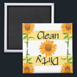"""Clean or Dirty Sunflowers 2 Dishwasher Magnet<br><div class=""""desc"""">This design features sunflowers. Ever wonder if the dishes in the dishwasher are clean or dirty. These magnets adds a little help on the guessing. One side is labeled CLEAN and other side DIRTY. Just turn to the side that the dishes are. A neat little novelty gift. original artwork &#169;delightful-doodles.com...</div>"""