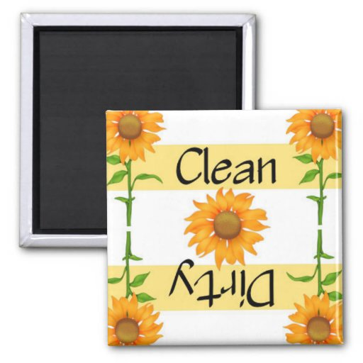 Clean or Dirty Sunflowers 2 Dishwasher Refrigerator Magnets