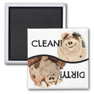 Clean Piggy and Dirty Piggy dishwasher magnet