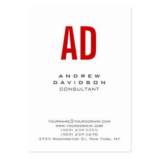 Clean Plain White Red Monogram Business Card