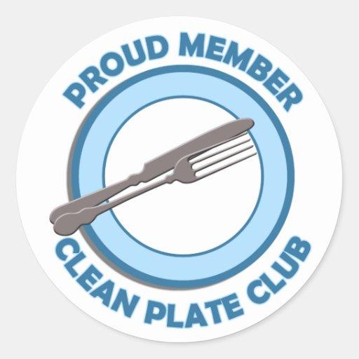 Clean Plate Club Proud Member Round Sticker