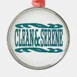 Clean & Serene Round Metal Christmas Ornament
