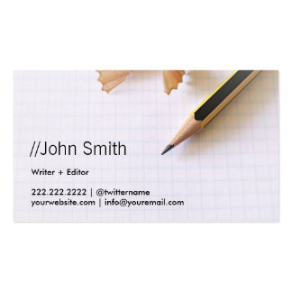 Clean Sharp Pencil Writer/Editor Business Card Pack Of Standard Business Cards