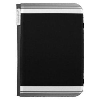 Clean Silver Metallic Edge Border Kindle Folio Case
