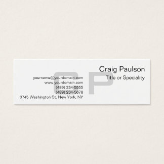 Clean Simple Grey Monogram Slim Business Card