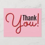 "[ Thumbnail: Clean, Simple ""Thank You!"" Postcard ]"