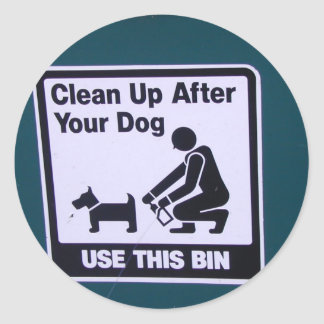 Clean Up after your dog Round Stickers