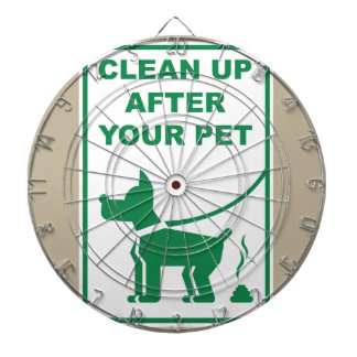 Clean Up After Your Pet Sign Dartboard With Darts