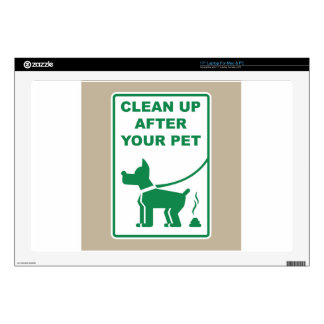 """Clean Up After Your Pet Sign Decals For 17"""" Laptops"""