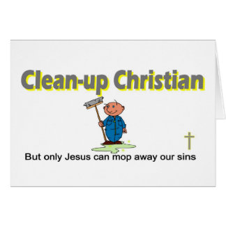 Clean-up Christian janitor design Card