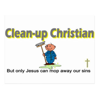 Clean-up Christian janitor design Postcard