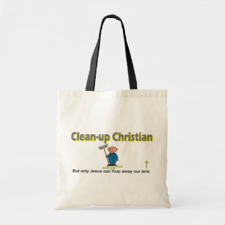 Clean-up Christian janitor design Tote Bags