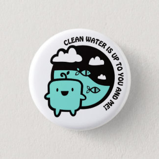 Clean water pinback button
