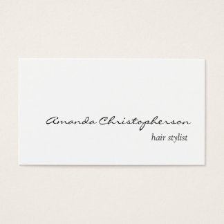 Clean White Hair Stylist Script Business Card