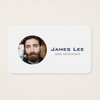 Clean White Simple Modern Photo Circle Business Card