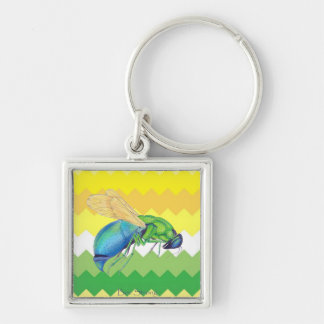 Clean Yellow and Green Chevron Keychain