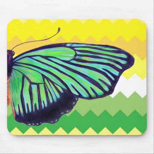 Clean Yellow and Green Chevron Mouse Pad