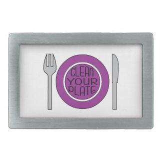 Clean Your Plate Rectangular Belt Buckles