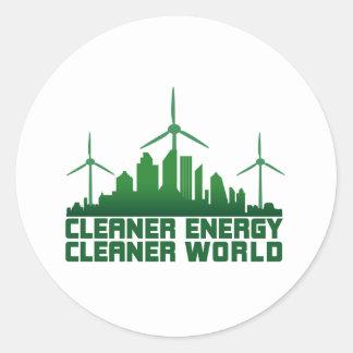 Cleaner Energy Cleaner World Round Sticker