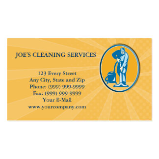 Cleaner Janitor Worker Vacuum Cleaning Business Card
