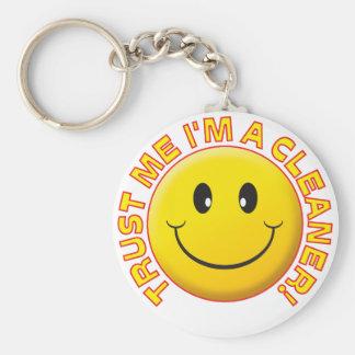 Cleaner Trust Me Basic Round Button Keychain