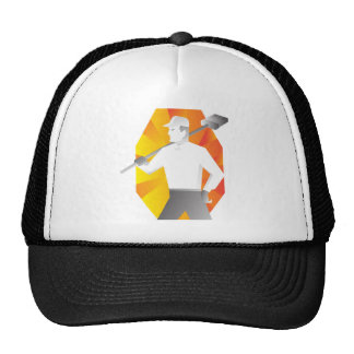 cleaner with broom looking to side retro trucker hat