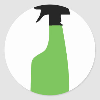 cleaning aerosol can green classic round sticker
