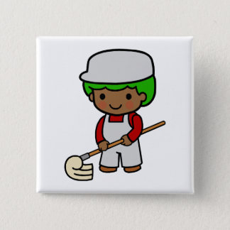 Cleaning Boy Pinback Button