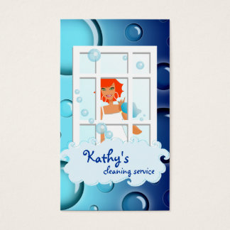 Cleaning Business Card blue Bubbles Red Hair