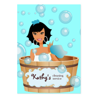Cleaning Business Card Bucket Bubbles Blue