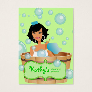 Cleaning Business Card Bucket Bubbles Green