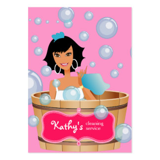 Cleaning Business Card Bucket Bubbles Pink