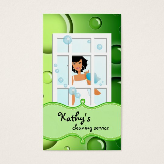 Cleaning Business Card Green Bubbles Black Hair