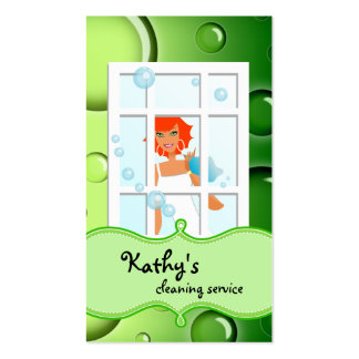 Cleaning Business Card Green Bubbles Red Hair