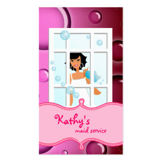 Cleaning Business Card Pink Bubbles Black Hair