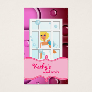 Cleaning Business Card Pink Bubbles Blonde Hair