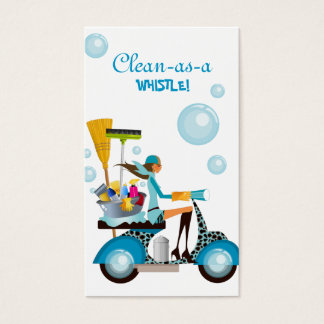 Cleaning Business Card Scooter Girl Blue White