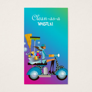 Cleaning Business Card Scooter Girl Pink Blue