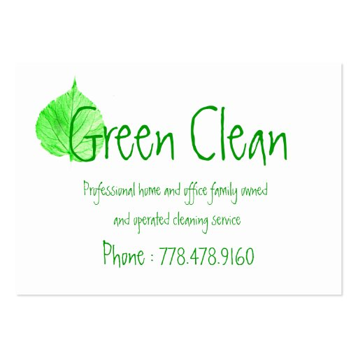 Cleaning Company, Green, Eco- Friendly, Nature Business Card Template