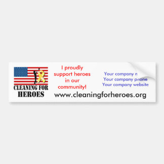 Cleaning for Heroes Bumper Sticker for Providers Car Bumper Sticker