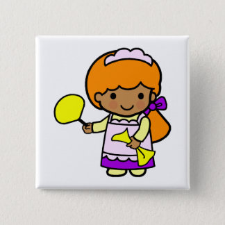 Cleaning Girl Pinback Button