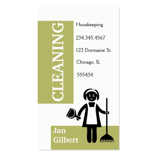 Cleaning Housekeeping Double Sided Standard Business Cards