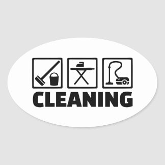 Cleaning housekeeping oval sticker