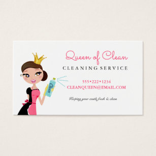 Cleaning services business cards templates zazzle cleaning maid service brunette character crown business card colourmoves