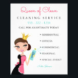 "Cleaning Maid Service Brunette Character Crown Flyer<br><div class=""desc"">Female character with apron and crown. Make the paper any color you like. Customize fonts and color.</div>"
