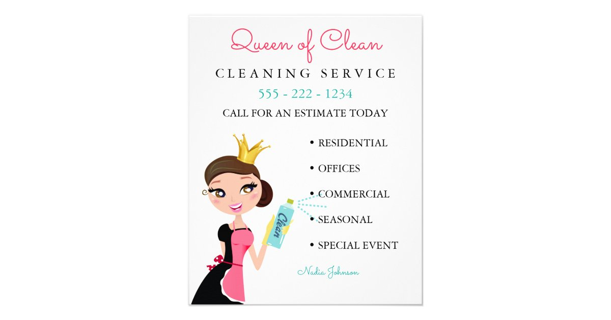cleaning maid service brunette character crown flyer zazzlecom