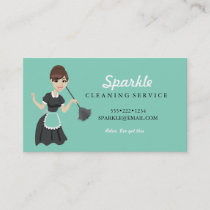 Cleaning Maid Service Character Featherduster Business Card
